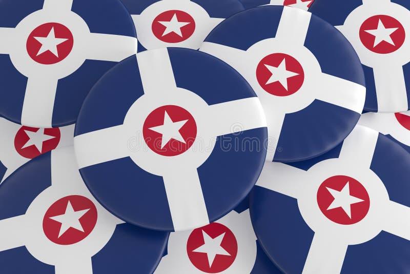 Stapel van Indianapolis, Indiana Flag Badges, 3d illustratie vector illustratie
