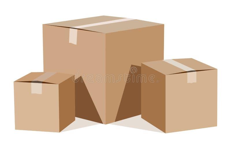 Stapel van kartondozen vector illustratie