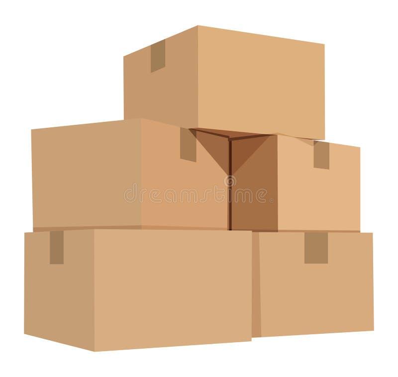 Stapel van kartondozen stock illustratie