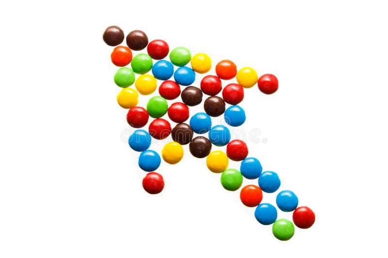 Stapel van kleurrijk met chocolade bedekt suikergoed stock fotografie