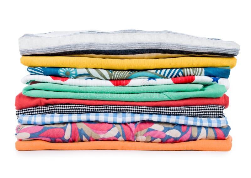 Stapel van kleurrijke kleren stock afbeelding