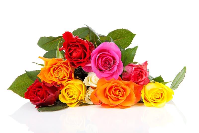 Stapel van kleurrijke rozen royalty-vrije stock afbeelding