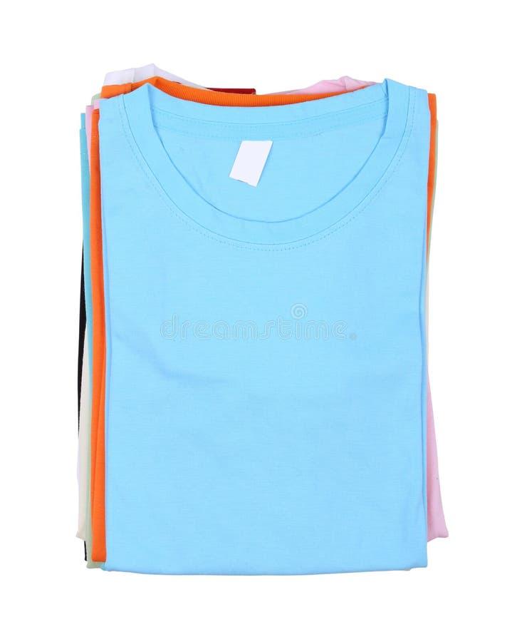 Stapel van Kleurrijke t-shirt stock afbeelding
