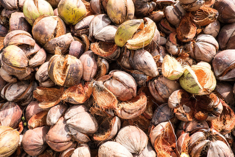 Stapel van kokosnotencoir stock afbeelding