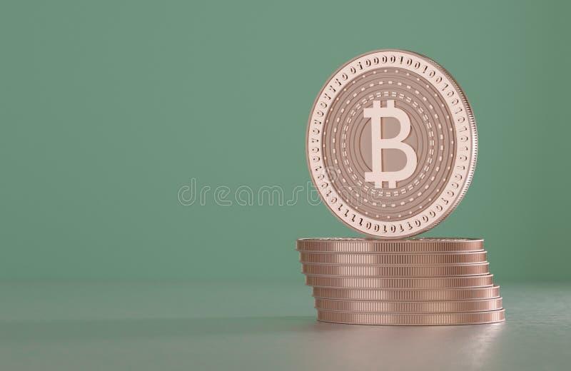 Stapel van koper bitcoins als voorbeeld voor blockchaintechnologie voor onscherpe achtergrond stock foto