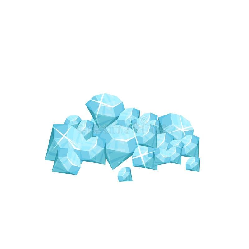 Stapel van kostbare halfedelsteen Blauwe glanzende diamanten Concept dure juwelen Symbool van rijkdom Grafisch ontwerp voor royalty-vrije illustratie