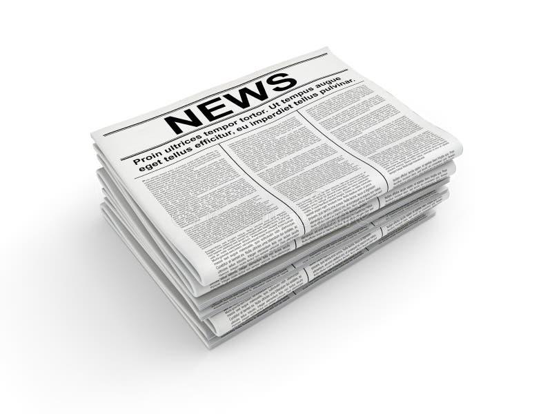 Stapel van krant op wit het 3d teruggeven royalty-vrije illustratie