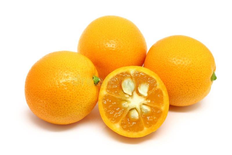 Stapel van Kumquats op Wit wordt geïsoleerd dat royalty-vrije stock fotografie