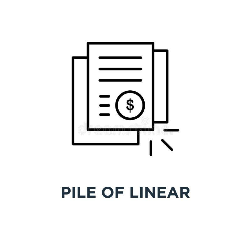 stapel van lineair rekening of rekeningsdocumentenpictogram, symbool van de verklaring van het dollarbankwezen of dunne de tenden royalty-vrije illustratie
