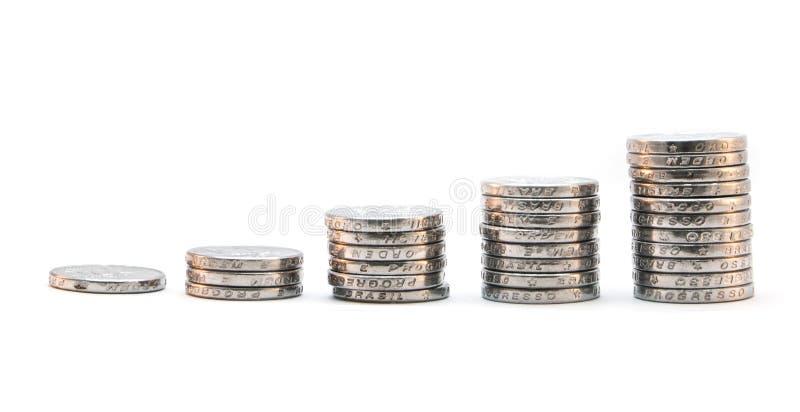 Stapel van muntstukken het stijgen stock afbeelding