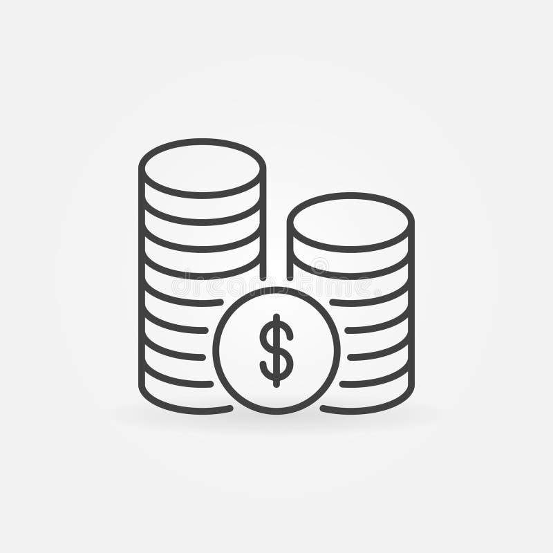 Stapel van muntstukken lineair pictogram royalty-vrije illustratie