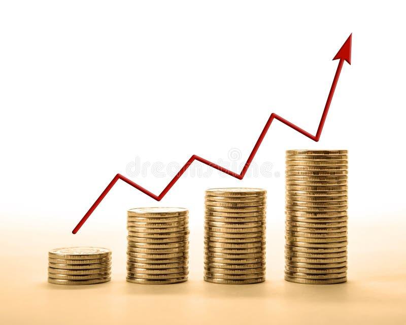 Stapel van muntstukken met cijfers en wijzerplaat royalty-vrije illustratie