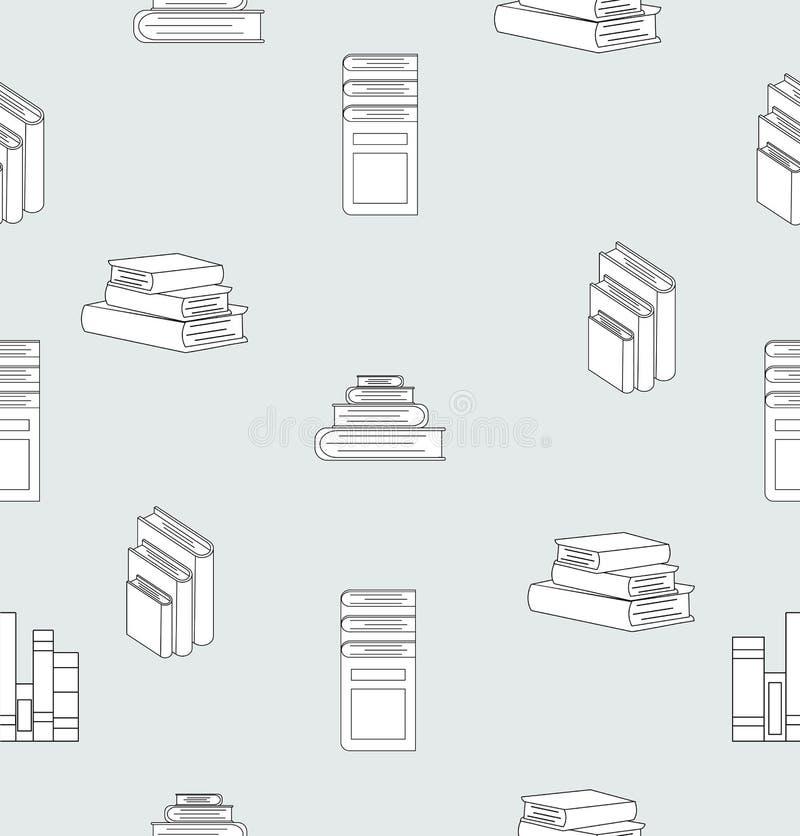 Stapel van naadloze patroon van het boeken het vlakke ontwerp royalty-vrije illustratie