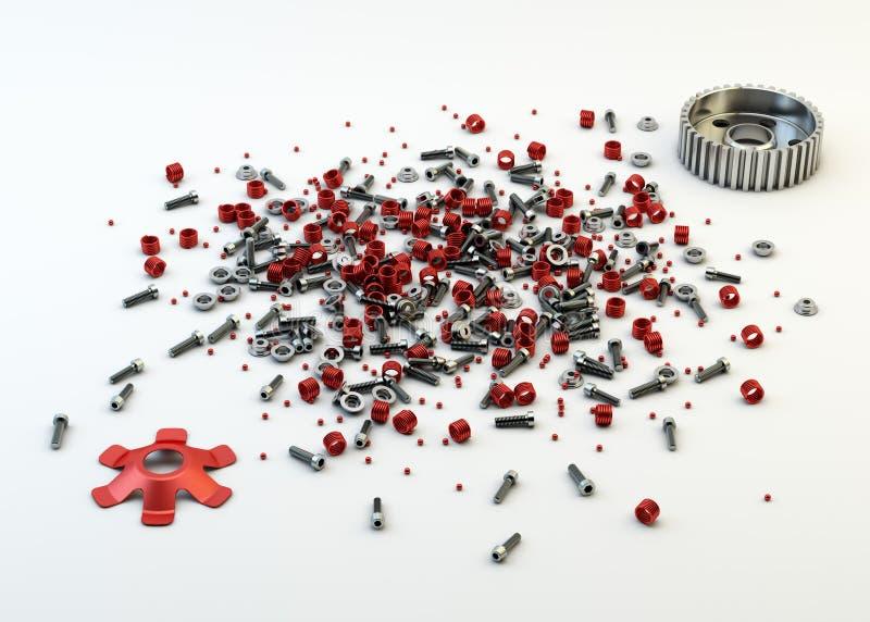 Stapel van noten - en - bouten van gedemonteerde koppeling stock afbeeldingen