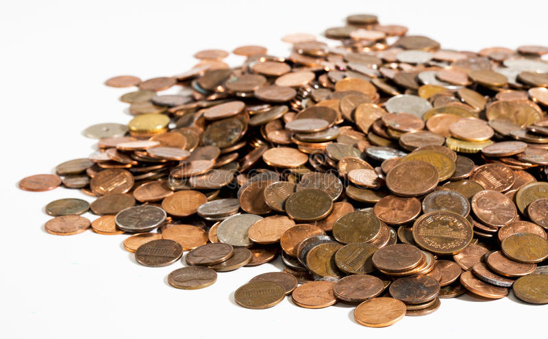 Stapel van oude, vuile muntstukken 2 stock fotografie