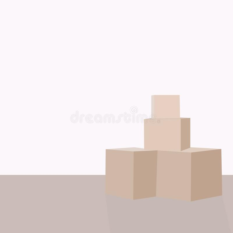 Stapel van pakketdozen, gestapelde verzegelde goederen in karton Realistische die pakketten, op wit worden geïsoleerd De vector v royalty-vrije illustratie