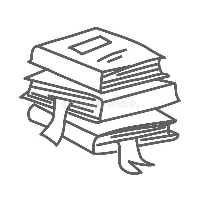Stapel, stapel van pictogram van de boeken het vectordiekrabbel op wit, hand wordt geïsoleerd getrokken schetsmatige stijl stock illustratie