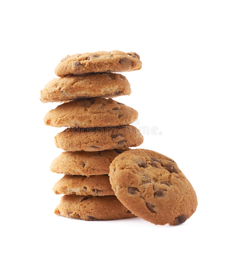 Stapel van ronde geïsoleerde koekjes stock fotografie