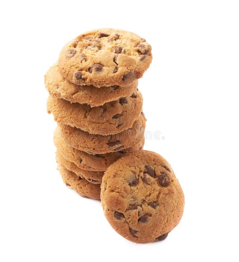 Stapel van ronde geïsoleerde koekjes stock afbeelding