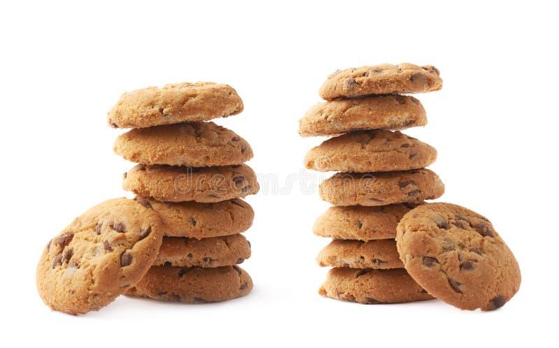 Stapel van ronde geïsoleerde koekjes royalty-vrije stock afbeelding