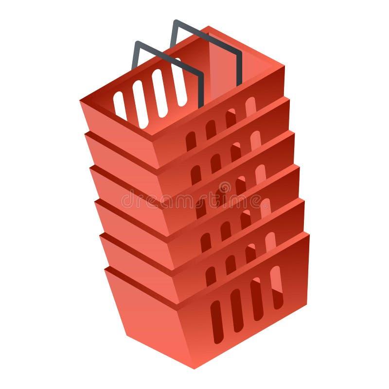 Stapel van rood mandpictogram, isometrische stijl stock illustratie
