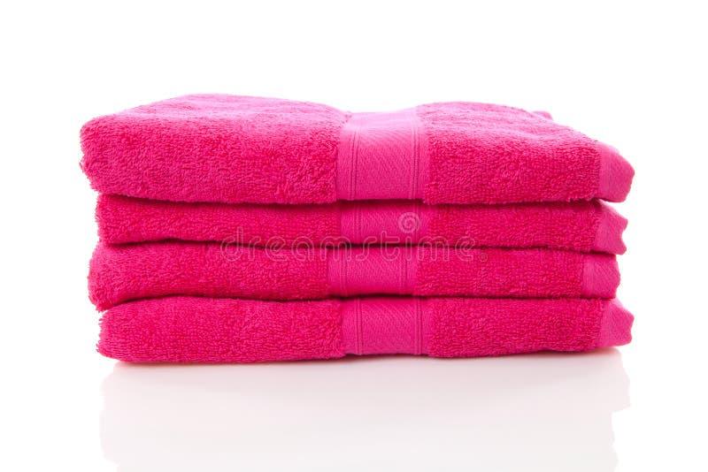 Stapel van roze handdoeken stock afbeelding