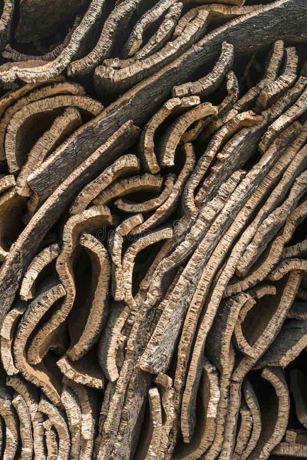 Stapel van schors van cork stock afbeeldingen