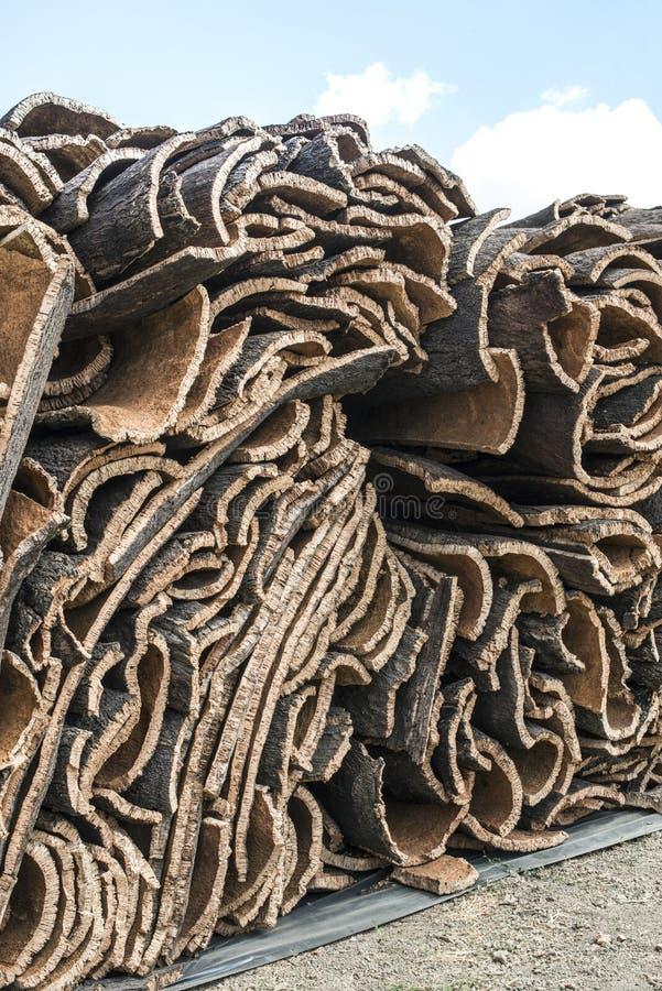 Stapel van schors van cork stock foto