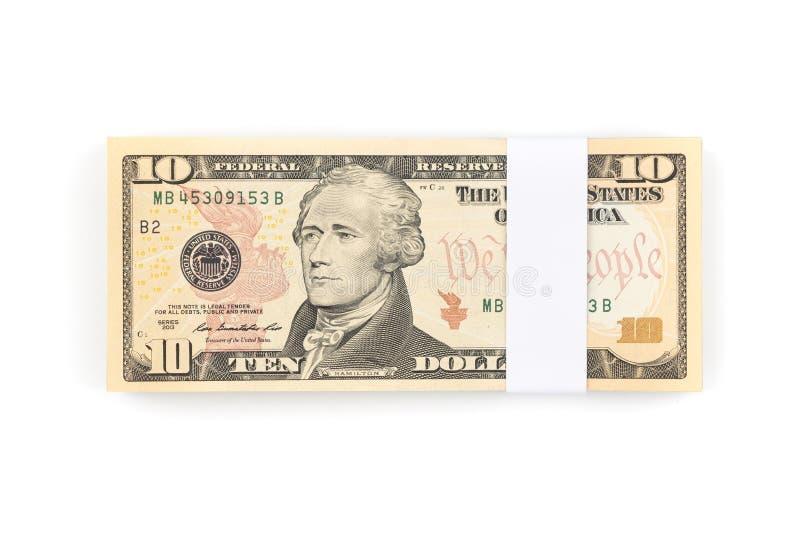 Stapel van tien die Amerikaanse dollarsrekeningen op witte achtergrond worden geïsoleerd royalty-vrije stock afbeelding