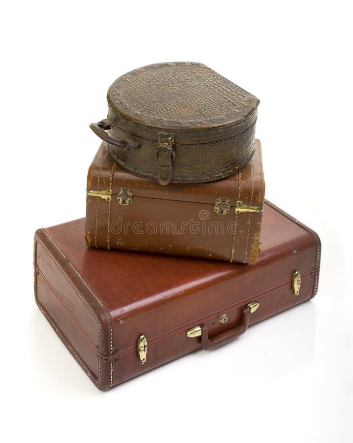 Stapel van uitstekende koffer drie royalty-vrije stock afbeelding