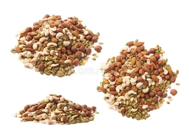Stapel van veelvoudige noten en zaden royalty-vrije stock afbeelding