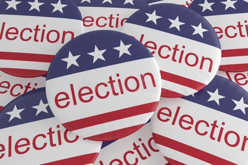 Stapel van Verkiezingsknopen met de Vlag van de V.S., 3d illustratie stock illustratie