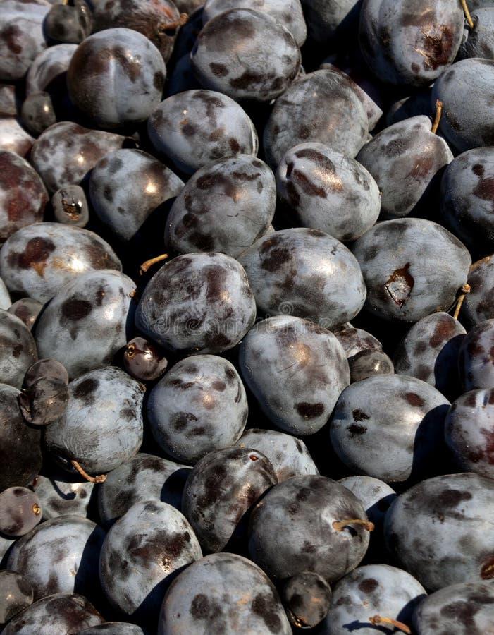 Stapel van verse pruimen en druiven royalty-vrije stock fotografie
