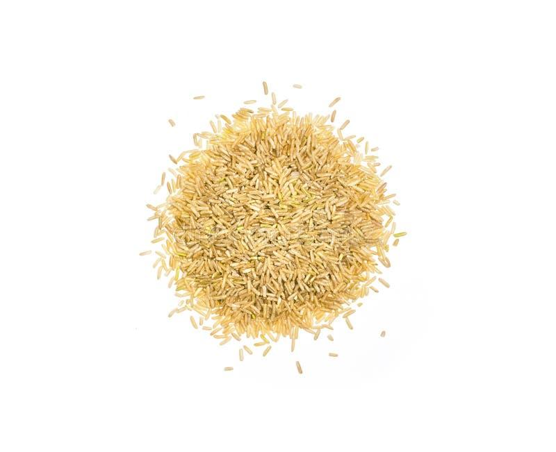 Stapel van wilde ongepelde rijst, hoop van ongekookte die rijstkorrels, op witte achtergrond wordt geïsoleerd, hoogste mening royalty-vrije stock fotografie