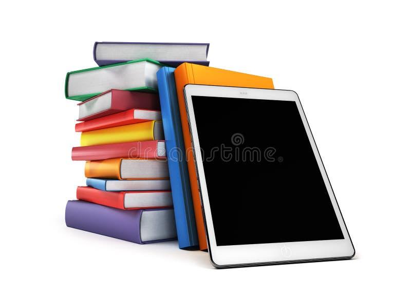 Stapel von Büchern mit einer Tablette im Vordergrund, lokalisiert auf Weiß lizenzfreies stockfoto