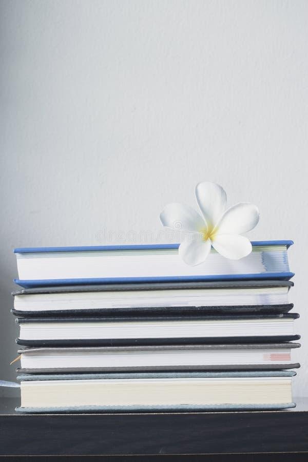 Stapel von Büchern und von Frangipaniblume lizenzfreie stockbilder