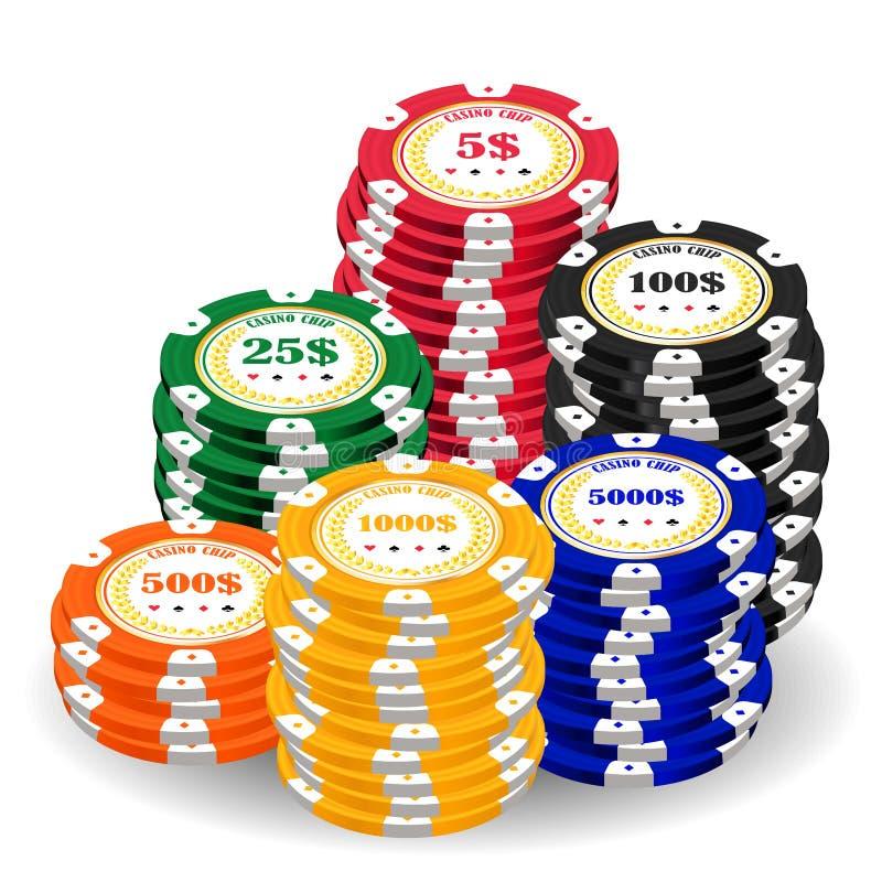 Stapel von Chips eines wirklichen bunten Kasinos vektor abbildung