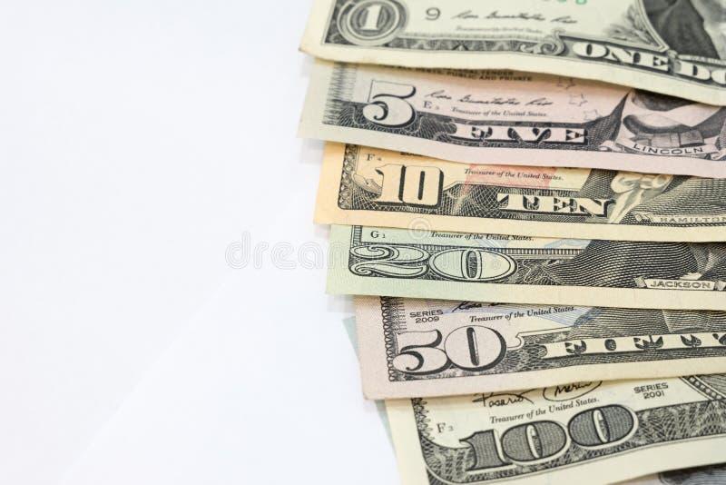 Stapel von den verschiedenen Dollar-Haushaltplänen US amerikanischen verbreitet als Fan-SOR stockfotografie