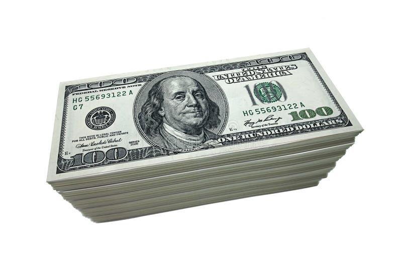 Stapel von 100 Dollarscheinen stockfotos