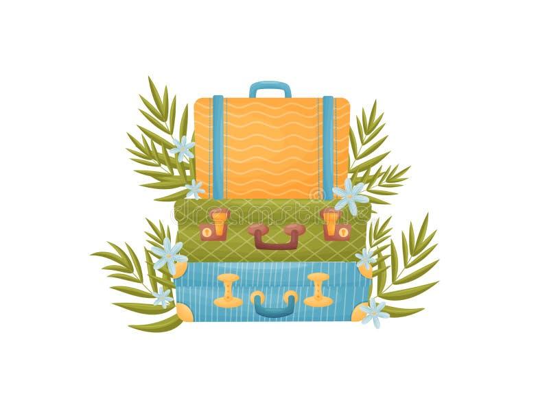 Stapel von drei Koffern verschiedenen Farben Vektorabbildung auf wei?em Hintergrund vektor abbildung