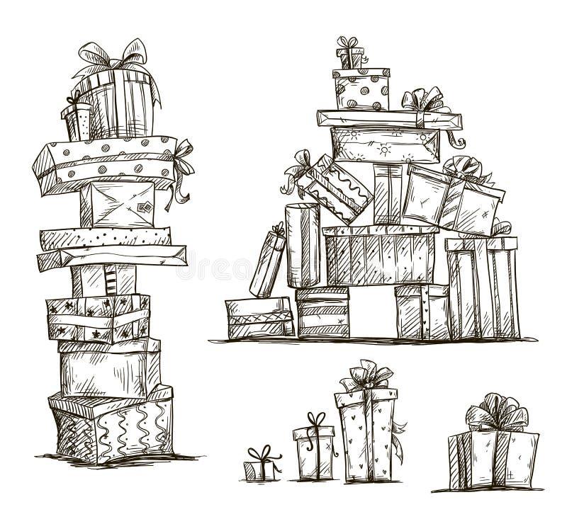 Stapel von Geschenken. Gekritzelhaufen von Geschenkboxen. vektor abbildung