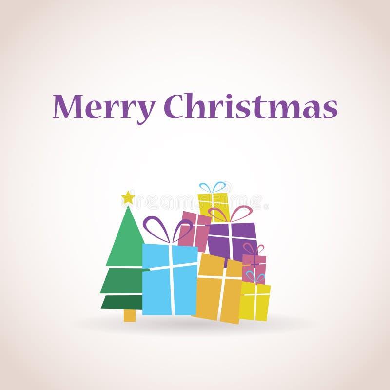 Stapel von Geschenken und von Weihnachtsbaum lizenzfreie abbildung