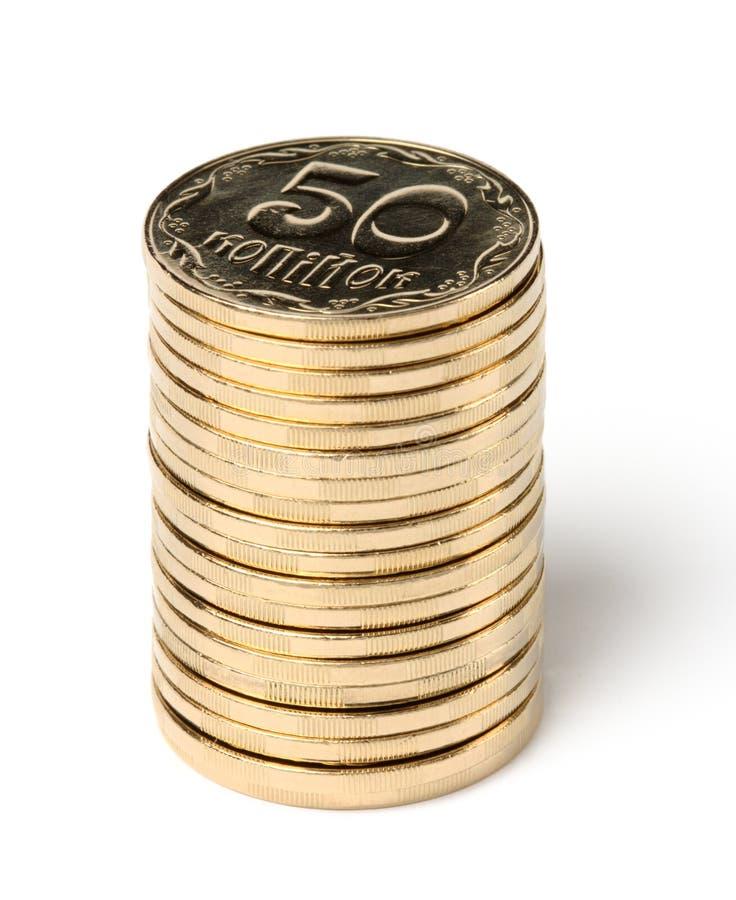 Stapel von goldene Münzen stockfoto