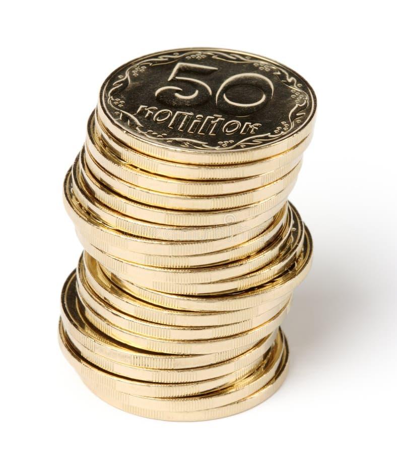 Stapel von goldene Münzen stockfotografie