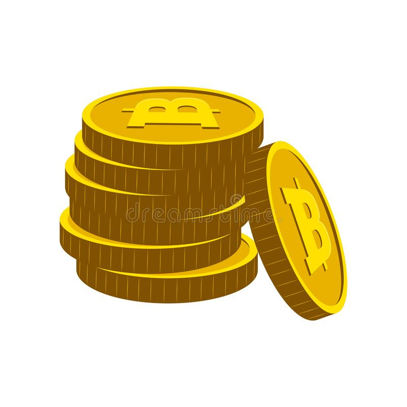 Stapel von goldenen bitcoins vektor abbildung
