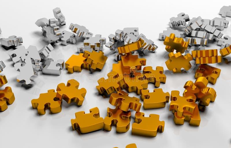 Stapel von Goldpuzzlespielelementen lizenzfreie abbildung