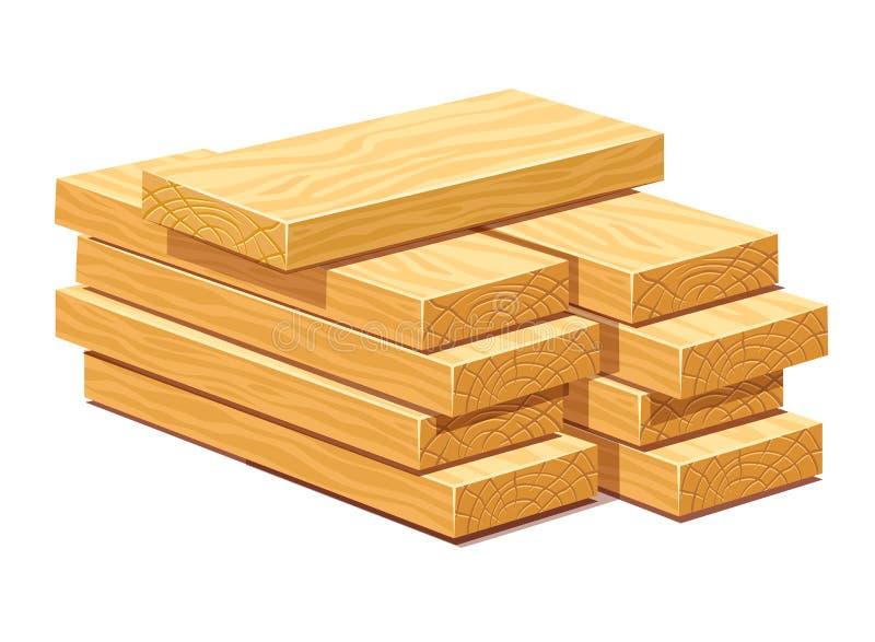 Stapel von hölzernen Bauholzplanken stock abbildung