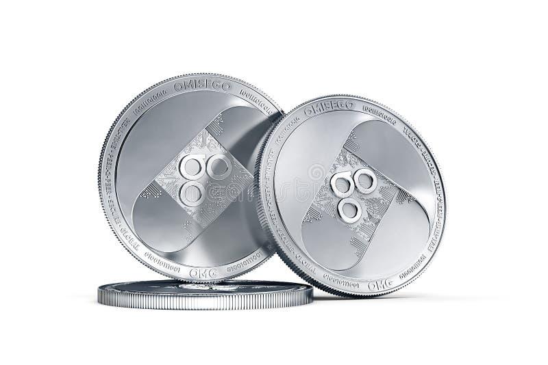 Stapel von Münze OMISEGO OMG lokalisiert auf weißem Hintergrund stock abbildung