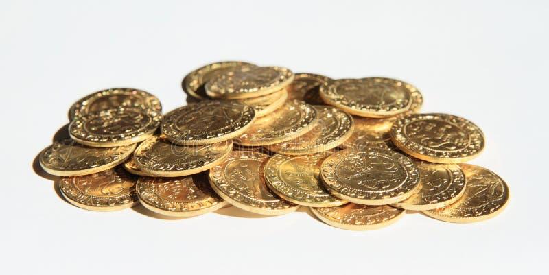 Stapel von Münzen - Prag-Groschen lizenzfreie stockbilder