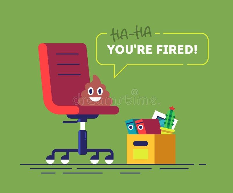 Stapel von Poo-emoji sitzt auf einem Stuhl und spricht YOU& x27; RE ABGEFEUERT Lustiges Konzept der Arbeitslosigkeit Komische Abb stock abbildung